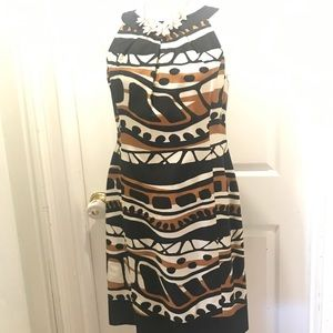 Fall neutral colors sleeveless dress